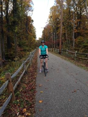 Mandy posing on the B&A Trail.