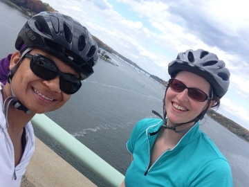 Stopping on the U.S. Naval Academy Bridge to get a picture.